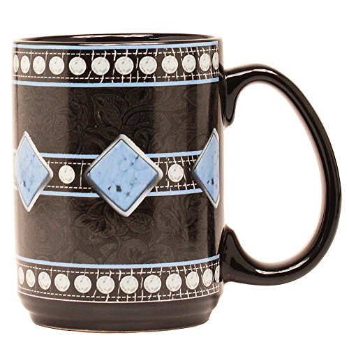 HILASON Western Moments Diamond Floral Silver Studs Accent Coffee Mug ()