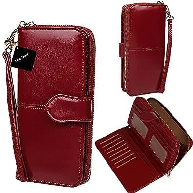 xhorizon TM SR Women Large Capacity Leather Zipper Wallet Purse Wristlet Handbag with Removable Wrist Strap for iPhone 7/7plus6/6s Plus, Samsung S5/S6/S6Edge/S7/S7Edge, LG G3 G4 G5 (Wine Red)