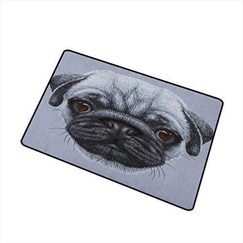 Wang Hai Chuan Pug Welcome Door mat Realistic Style Detailed Young Dog with Cute Giant Eyes Pure Breed Pug Blue Backdrop Door mat is odorless and Durable W23.6 x L35.4 Inch Slate Blue