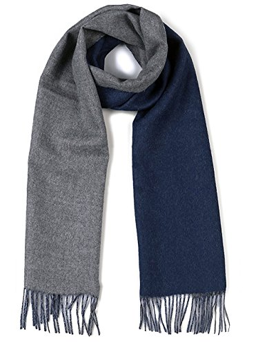 (Alpaca Wool Scarf - 100% Pure Baby Alpaca - Double Sided Reversible Contrast Scarf (Navy Gray))