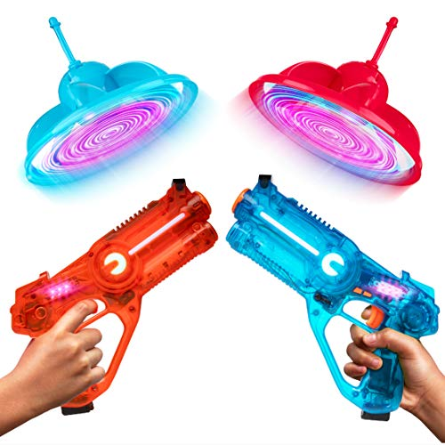 Laser Launchers Laser Tag Gun Set - Lazer Tag 2 Player Shooting Games with 2 Toy Guns, 2 Flying Toy Targets (Laser Target Set)