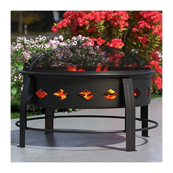 "Regal Flame Cosmic Flame 27"" Portable Outdoor Fireplace Fire Pit for Backyard Patio Fire Bowl, Includes Safety Mesh Cover, Poker Stick, Great for Camping, Outdoor Heating, Bonfire, Picnic - 26.8"" FIRE PIT WITH SCREEN (DECORATIVE BASE) - Stay warm outdoors with incredible ambiance - Firepit comes complete with safety mesh screen, wood grate, and poker tool. 26.8"" (Diameter) x 19.7"" (Height) GREAT FOR ANY OCCASION - Suitable for backyard, outdoor entertaining, bonfire pit, RV trips, camping, tailgating, beach, parties, BBQ's, relaxing, chilly evenings - Complements any outdoor patio style (modern, southwestern, countryside, beach side, and more) HEAT RESISTANT - High-temperature heat-resistant finish - Mesh fire screen cover keeps fired contained safely with terrific view of the flames - Prevents sparks, embers, flying debris - Can be used with charcoal, wood, Logs, etc - patio, outdoor-decor, fire-pits-outdoor-fireplaces - 511DmZThPdL. SS570  -"