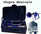BEST BUY BLUE FLUGEL HORN 3V Bb CHROME PLATED CHOPRA WITH BAG+ M/ P