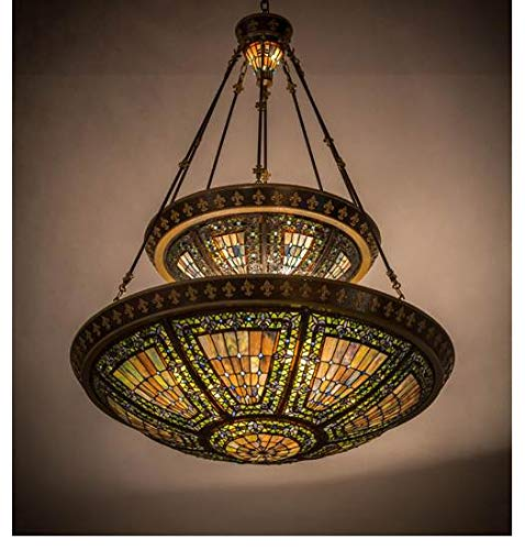 Meyda Tiffany Custom Lighting 19834 Fleur-De-Lis 14LT 2-Tier Pendant, Mahogany Bronze and Antique Gold Finish with Multi-Colored Stained Art Glass - Glass Lamp Stained Billiard Custom