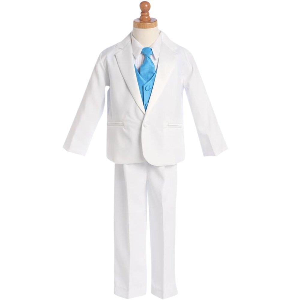 HBDesign Boys'3 piece 1 Button Notch Lapel Trim Fit Suit With Blue Vest by HBDesign