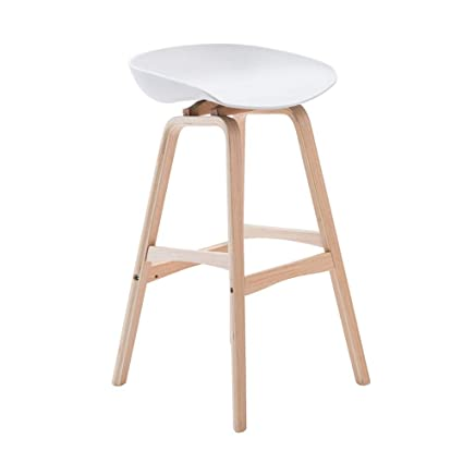 Bar Furniture Nordic Style Modern Bar Counter Stool Full Solid Wood High Footstool Natural Pinewood Coffee Shop Minimalist Bar Stool For Home