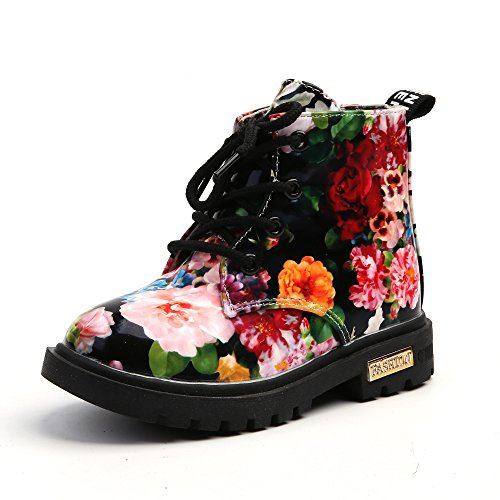 UBEY Kids(30) BlackBritish Style Ankle Martin Boot with Flower Pattern]()
