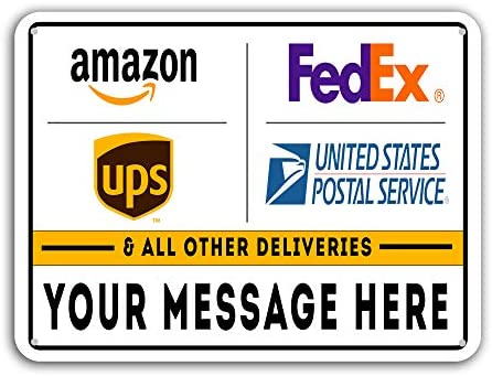"""VIBE INK Deliveries & Packages Drop Off - Metal Signs - Customizable - 18""""x12"""" Rust-Free Aluminum, Rounded Corners, Pre-drilled Holes - Commercial & Residential, Made in America!"""