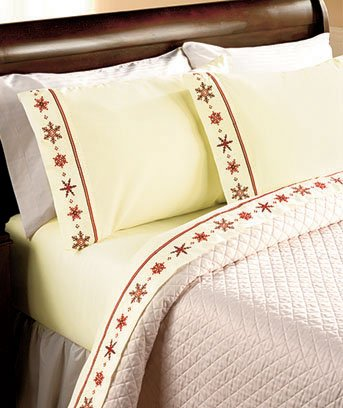 Snowflake Embroidered Full Sheet Sets-Burgundy - Snowflake Embroidered Sheet Sets