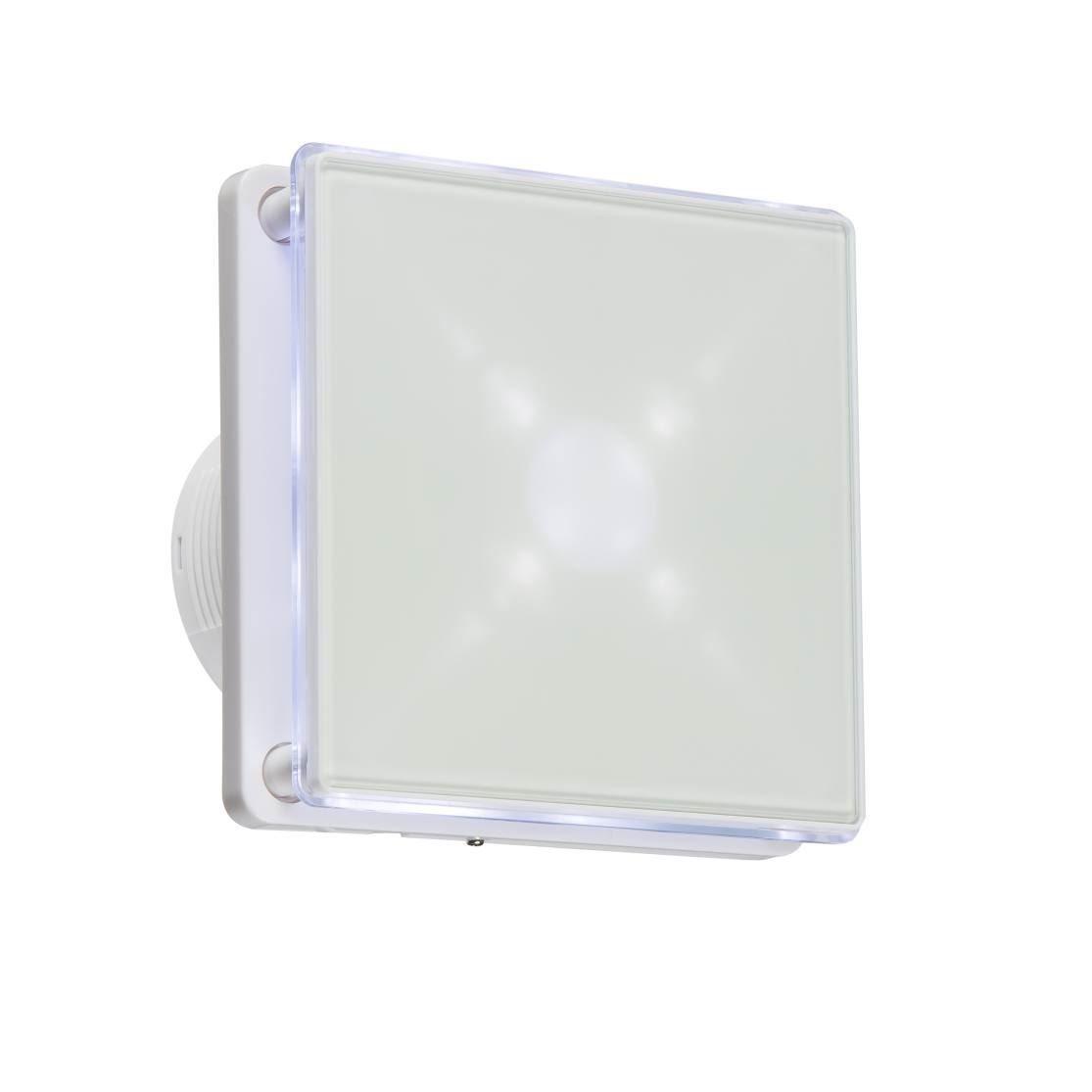 Knightsbridge 100mm/10, 2cm LED Hintergrundbeleuchtung Abluftventilator mit Nachlauf-Timer–weiß ex003t