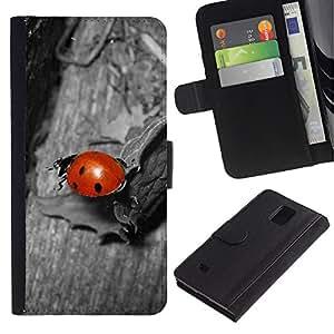 KingStore / Leather Etui en cuir / Samsung Galaxy Note 4 IV / Mariquita Gray Red Bug lindo macro Primer plano