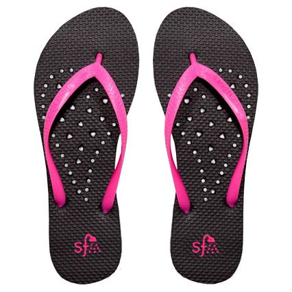 Showaflops Womens Antimicrobial Shower & Water Sandals for Pool, Beach, Dorm and Gym - Elongated Heart Collection (Black/Pink, Womens 9/10)