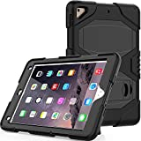 ipad 6th/5th Generation Cases, ipad 9.7 Case, Bingcok Heavy Duty Three Layer Hard PC+Silicone Hybrid High Impact Resistant Defender Full Body Protective case Cover with Kickstand(black1)