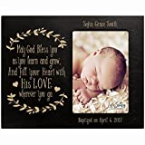 Personalized gift for Baptism First Holy Communion Confirmation Photo Frame May God Bless You as you learn and grow Maple picture frame holds 4x6 photo (Black)