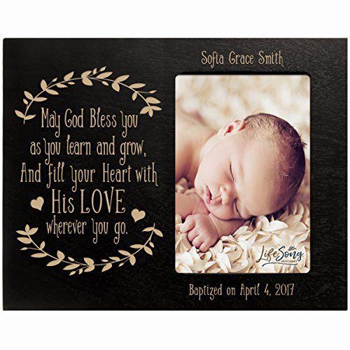LifeSong Milestones Personalized Gift for Baptism First Holy Communion Confirmation Photo Frame May God Bless You as You Learn and Grow Maple Picture Frame Holds 4x6 Photo (Black)