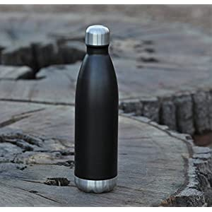 MIRA 25 Oz Stainless Steel Vacuum Insulated Water Bottle | Leak-proof Double Walled Powder Coated Cola Shape Bottle | Keeps Drinks Cold for 24 hours & Hot for 12 hours | 750 ml Matte Black