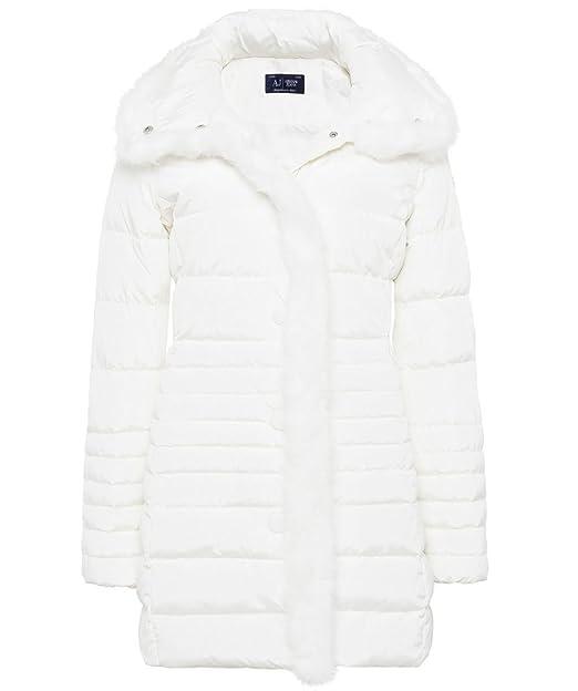 Armani Jeans Abrigo DE Pluma Largo Blanco para Mujer Art. B5K20 46 EU - 10 USA Bianco - White: Amazon.es: Ropa y accesorios