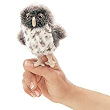 Folkmanis Puppets Spotted Owl Finger Puppet, Grey