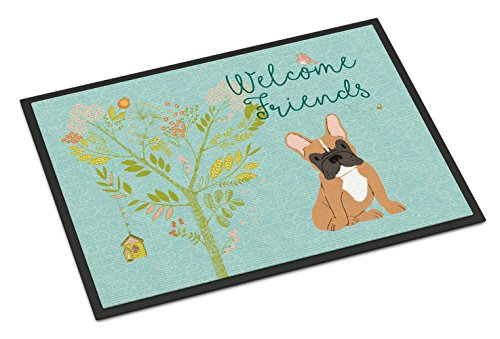 Caroline's Treasures Welcome Friends Fawn French Bulldog Doormat 18hx27w Multicolor