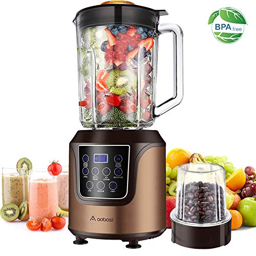 Blender,AAOBOSI Smoothie blender, Professional Blender with 52 Oz Glass Jar for Shakes and Smoothies, Max Power 1400w, 3 Speeds, Gold