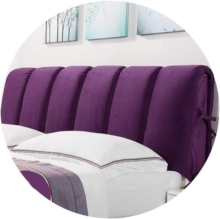 ZHWNGXO Bedside Large Backrest-Bed Head Cover Cloth Detachable Wash Easy Installation Solid Color Plus Thick Purple (Size : Bed Head 200cm×50cm)
