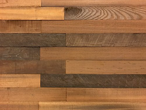 Holeywood Smart Paneling 3D Barn Wood (Design 1), Reclaimed Wood Wall Planks, Brown (10 sq. ft. / Case)