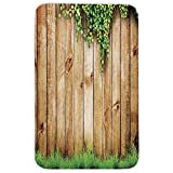 Rectangular Area Rug Mat Rug,Rustic Home Decor,Fresh Spring Grass and Leaf Plant over Old Wood Fence Garden Field Photo,Green Brown,Home Decor Mat with Non Slip Backing