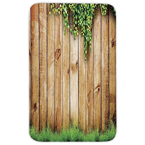 Rectangular Area Rug Mat Rug,Rustic Home Decor,Fresh Spring Grass and Leaf Plant over Old Wood Fence Garden Field Photo,Green Brown,Home Decor Mat with Non Slip Backing by iPrint