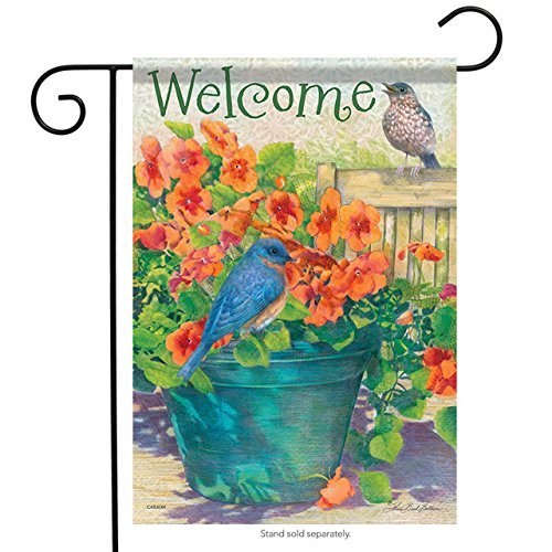 Brownrio Bluebirds & Flower Pot Spring Garden Flag Floral Double Sided Welcome 13 inches x 18 inches