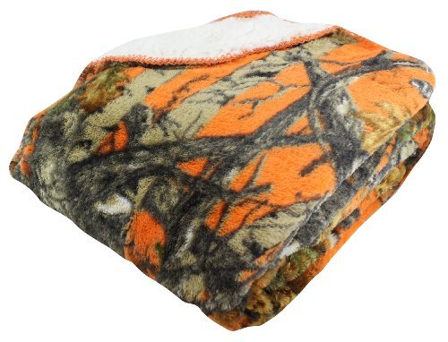"Price comparison product image Regal Comfort 50"" x 70"" Sherpa Luxury Throw Blanket - The Wood's Orange Camo"
