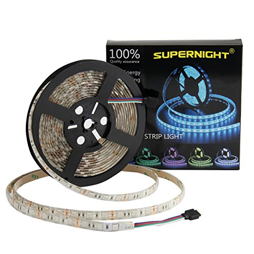 SUPERNIGHT LED Strip Lights, 16.4FT 5M SMD 5050 Waterproof 300LEDs RGB Color Changing Flexible LED Light Strip