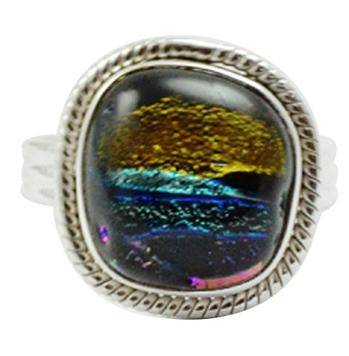 - Lovegem Genuine Dichroic Glass Ring 925 Sterling Silver,Size:8, AR3024