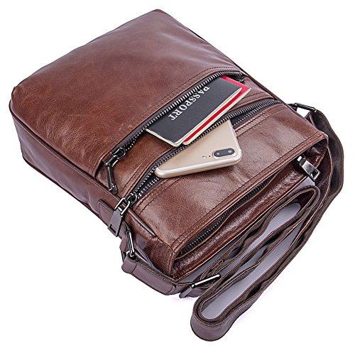 Genda 2Archer Borsa a Tracolla in Pelle Uomo Borsa Traversa Vintage Sacchetto del iPad (22cm*6.5cm*25cm)