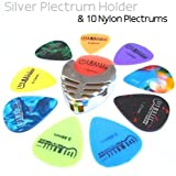 1To1Music Silver Plectrum Picks Pick Plec Holder And 10 Guitar Plectrums