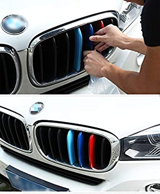 TOPGRIL M-Colored Stripe Grille Insert Trims M Sport Grille Insert Trim Strips FOR 2014-2018 BMW X5 F15 2015-2016 BMW X6 F16 Center Kidney Grill Stripes Does NOT fit 2017 X6