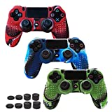 Pandaren STUDDED Anti-slip Silicone Cover Skin Grip Set for PS4/SLIM/PRO controller(controller skin x 3 + FPS PRO Thumb Grips x 8)(CamouRed,CamouBlue,CamouGreen) Review
