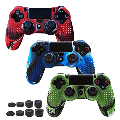 Pandaren STUDDED Anti-slip Silicone Cover Skin Set for PS4 /SLIM /PRO controller(controller skin x 3 + FPS PRO Thumb Grips x 8)(CamouRed,CamouBlue,CamouGreen) (Cooler Super Fan Ps3 Slim)