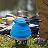 Dltsli 1.2L Blue Portable Silicone Collapsible Tea Kettle Outdoor Camping Travel Kettle Foldable Pot