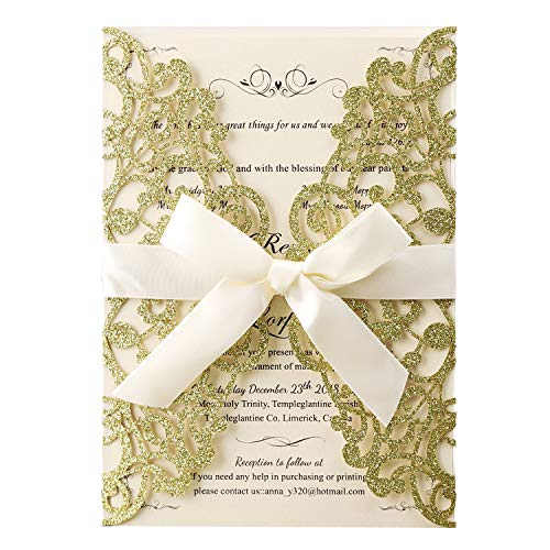 Hosmsua 20x Gold Glitter Laser Cut Flora Lace Wedding Invitations Cards with Blank Inner Sheets and Envelopes for Bridal Shower Engagement Birthday Baby Shower (Gold Glitter)