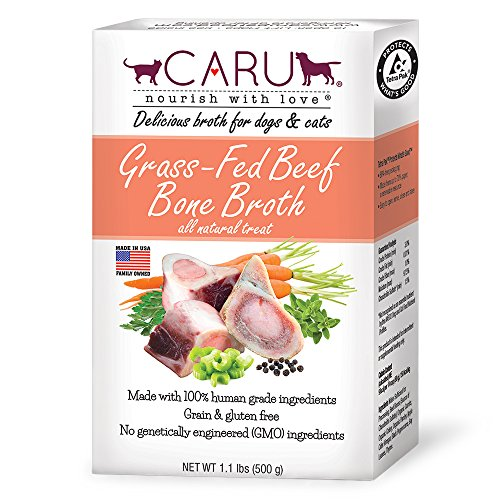 Caru - Grass-Fed Beef Bone Broth for Dogs and Cats, Moistens Dry Food or Pour Over Freeze Dried Raw Food, Grain and Gluten Free, Non-GMO Ingredients (1.1 lbs).