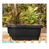 Bloem Deck 24 in. Balcony Rail Planter in Black - 1 Pack