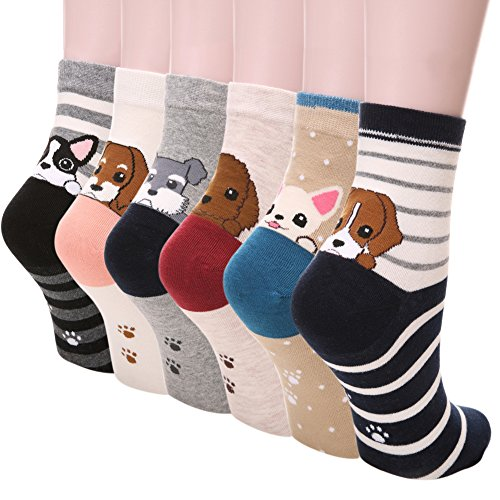 Dosoni Girl Cartoon Animal Cute Casual Cotton Novelty Crew socks 6 packs-Gift Idea (Cute Dogs)