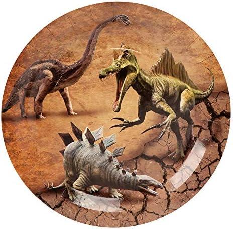 Dino Comprend des Assiettes Juvale Articles de f/ête Jurassique danniversaire de Dinosaure des Serviettes et des Tasses Servant 24 des cuill/ères des fourchettes des Couteaux