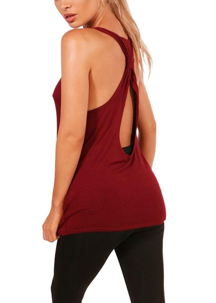Mippo Women's Summer Workout Clothes Casual Sleeveless Backless Shirt Strappy Back Loose Tops Sexy T Shirts Tees Juniors Wine Red M