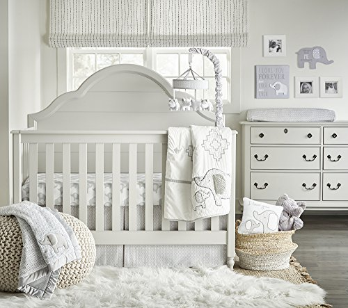 - Wendy Bellissimo 4pc Nursery Bedding Baby Crib Bedding Set - Elephant Crib Bedding from The Hudson Collection in Grey and White