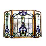 Chloe Lighting Tiffany-Glass 3pcs Folding Victorian Fireplace Screen Wide, 44''