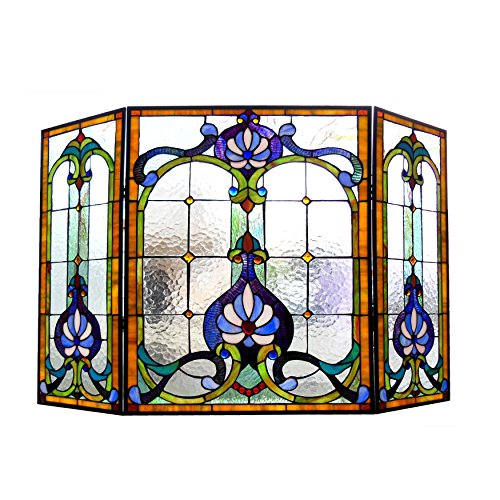 Chloe Lighting Tiffany-Glass 3pcs Folding Victorian Fireplace Screen Wide, (Art Glass Stained Glass Fireplace Screen)