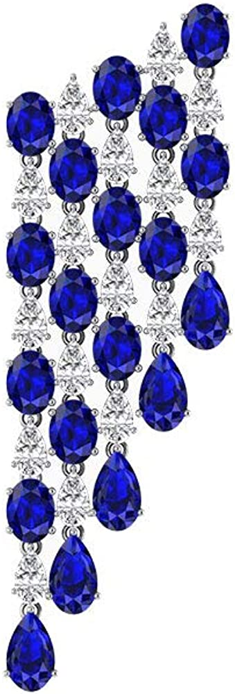 Pendientes de araña de diamantes con certificado IGI, piedra azul, para novia, boda, lágrima, piedra de nacimiento de septiembre, regalo, tornillo hacia atrás