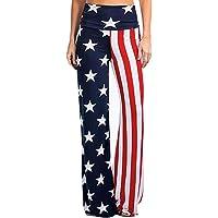 NREALY Pantalones Womens Fashion High Rise American Flag Wide Leg Pants Leggings Loose Trousers