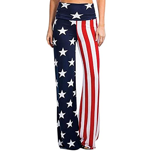 f63a264b1c KaiCran Womens Summer High Waist Pants American Flag Comfy Loose Wide Leg Pants  Trousers for 4th
